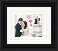 Wedding print in a frame featuring a large image, hearts, and a smaller image. Customized with your vows.