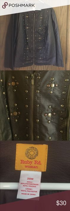 Ruby Red 20W jacket like new😍 Ruby Red 20W Faux leather jacket.  Like new.❤️front zip with great bronze/coppery nailhead designs.  Super jacket!  Looks great with anything! Ruby Red Jackets & Coats