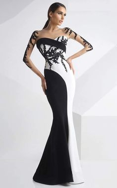 MNM Couture - Embroidered Panel Gown in Black and White Evening Dresses, Prom Dresses, Formal Dresses, Wedding Dresses, Sexy Dresses, Summer Dresses, Couture Dresses, Fashion Dresses, Silvester Outfit