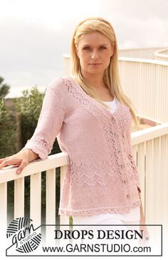 "DROPS jacket in ""Muskat"" with lace pattern and 3/4 sleeves. Size S - XXXL. ~ DROPS Design"