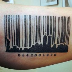 30 Barcode Tattoo Designs For Men - Parallel Line Ink Ideas - Tattoo Fonts Barcode Tattoo, C Tattoo, Cover Tattoo, Tattoo Fonts, Tattoo Drawings, Angel Tattoo Designs, Tattoo Designs Men, Unbreakable Tattoo, Tattoo Bras Homme