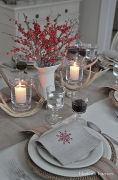 Henhurst Interiors: Christmas in Vermont-make napkins from drop cloth and stamp them