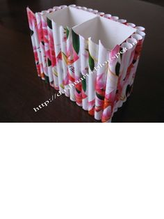 http://www.itshandmade.in/product/penstand  Paper Penstand Have fun making this pen stand with your kids.  Materials provided are-  recycled box-10 cm height,10 cm width rolled paper tubes( color and pattern may vary) fevicol glue.