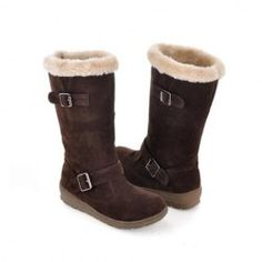 $17.98 Casual Women's Snow Boots With Solid Color Flat Heel Belts Buckles Design