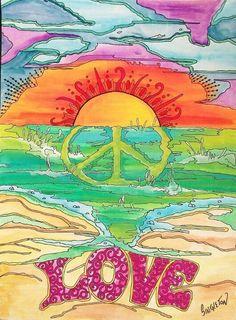Morning at Hippie Beach Singleton Hippie Art by justgivemepeace Hippie Beach, Hippie Love, Hippie Art, Boho Hippie, Hippie Things, Happy Hippie, Hippie Chick, Mundo Hippie, Estilo Hippie