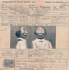 Real life: The art was most popular in the middle of the 20th century with The Great Lester, one of the most popular talents in that day, the ID of his dummy seen here
