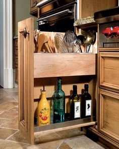 Another great use of space for items that usually clutter the countertop.