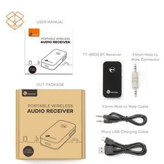 Amazon.com: TaoTronics Bluetooth Receiver / Car Kit, Portable Wireless Audio Adapter 3.5 mm Stereo Output (Bluetooth 4.0, A2DP, Built-in Microphone) for Home Audio Music Streaming Sound System: Electronics