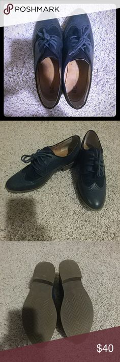 Navy Oxfords! Size 7.5  I literally wore these shoes 3 times, was bummed because I thought they were going to fit perfect but they are just a tad too big for my feet. I love these, they are a nice neutral color, and just go with everything! I hope these find a nice new home. :) BC Footwear Shoes