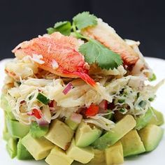 Crab avocado stack salad – Laylita's Recipes Avocado Crab Salad, Avocado Salad Recipes, Salad Dressing Recipes, Healthy Salad Recipes, Healthy Food, Healthy Eating, Ceviche, Healthy Appetizers, Appetizer Recipes