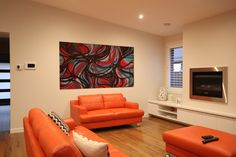 Narre Warren - Private residence. Two commissioned works for living areas. 1500mm x1500mm (bzerk) canvas, 2200mm x 1200mm MDF panel. Dec 2014