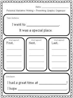 This personal narrative organizer is helpful because it sets the students up well. Since it comes with pre-written sentences, this could work well at the beginning of the unit on how to set up your narratives.