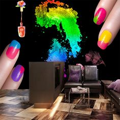 Free Shipping 3D trend color wallpaper beauty shop Manicure store cosmetics room wallpaper mural