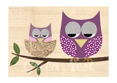 Mother and Baby Owl collage poster print on wood.