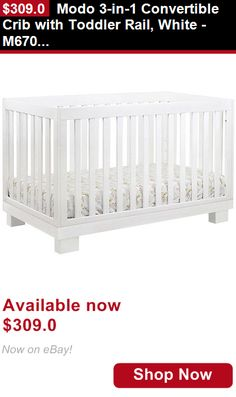 Nursery Furniture Sets: Modo 3-In-1 Convertible Crib With Toddler Rail, White - M6701w BUY IT NOW ONLY: $309.0