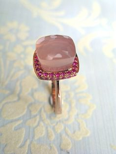 How Sweet You Are - 9.6 ct rose quartz surrounded by pink sapphire