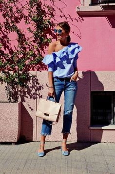 one shoulder ruffle top, asos, chicwish, furla, spring outfit Off The Shoulder Top Outfit, One Shoulder Ruffle Top, Mode Outfits, Casual Outfits, Fashion Outfits, Dress Fashion, Spring Summer Fashion, Spring Outfits, Nyc Spring