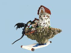 A unique floating island scene emerging from an open scroll, both built by ArzLan
