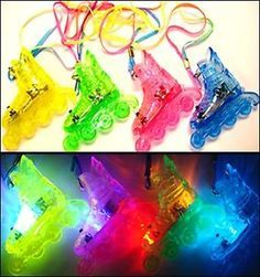 *FLASHING* ROLLER SKATE Necklaces: 1-BOX of 24 pcs. Assorted Colors LITE-UP FUN!