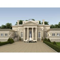 Luxury Mansion Home Plans and Designs / Archival Designs ❤ liked on Polyvore
