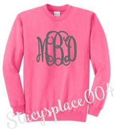 monogrammed sweater, mongorammed sweat shirt, personalized sweater, mongorammed shirt, hot pink sweater