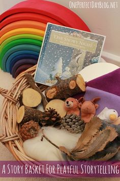 Playful Storytelling: Using a story basket as a story prompt. What a wonderful way to foster imagination and creativity.invatation to play. favorite book and toys and things to act it out Preschool Literacy, Early Literacy, Literacy Activities, Activities For Kids, Winter Activities, Language Development, Child Development, Early Childhood Education, Early Learning