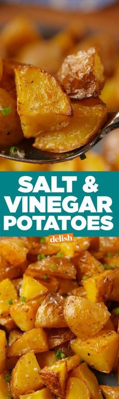 If You Love Salt & Vinegar Chips, These Crispy Potatoes Are For You - Lecker - Potatoes Recipes Potato Dishes, Potato Recipes, Vegetable Recipes, Chicken Recipes, Veggie Food, Salt And Vinegar Potatoes, Cooking Recipes, Healthy Recipes, Atkins Recipes