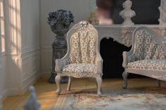 1 12 Miniature scale, Gustavian Armchair, Dollhouse, Swedish Furniture, French…