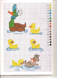 favola il brutto anatroccolo (2) Cross Stitch For Kids, Cross Stitch Bird, Cross Stitching, Funny Cross Stitch Patterns, Cross Stitch Charts, Stitch Cartoon, Baby Hat Patterns, Baby Embroidery, Alphabet For Kids