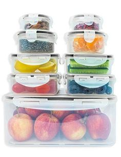 Premium Food storage containers set with smart lock lids (comparable to Tupperware ). 9 x Airtight and BPA Free Kitchen container set (18 pieces) by Fullstar