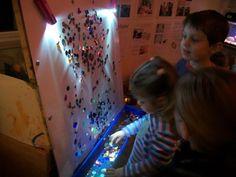 """'Sticky' easel, sequins & light. Beautiful! ... from 'Garden Gate Child Development Center' ("""",)"""