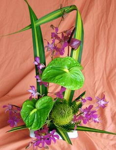 Ka Ipo (Sweetheart) Hawaiian anthurium orchids flower assortment with green and purple