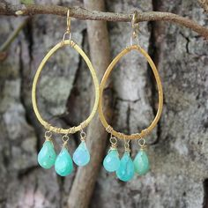Peruvian Opal and Gold Earrings