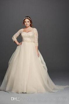 Plus Size Wedding Dresses Cheap A-Line Lace Applique Sqaure With Beaded Country Court Train Bridal Gowns vestidos de novia 2017