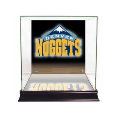 Steiner Sports Glass Basketball Display Case with Denver Nuggets Logo Background, Multicolor