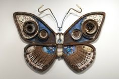 sculpture from recycled piano parts