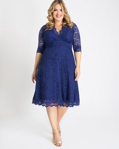 Kiyonna Women's Plus Size Special Occasion Mademoiselle Lace Cocktail Dress Plus Size Lace Dress, Plus Size Cocktail Dresses, Lace Midi Dress, Plus Size Dresses, Plus Size Outfits, Plus Size Wedding Guest Dresses, Wedding Dresses, Chiffon Dresses, Bridesmaid Gowns