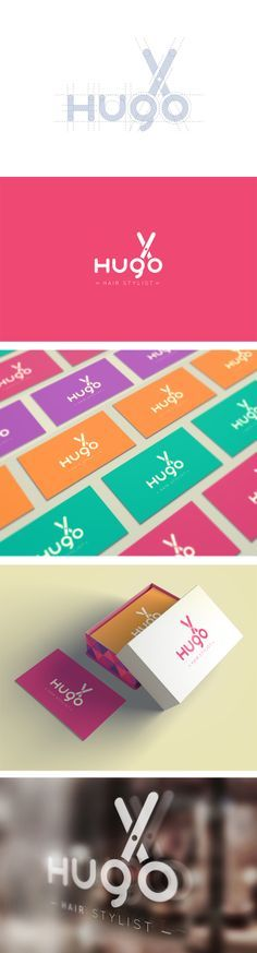 Hugo Hair Stylist branding and identity. Love the different color #business #cards