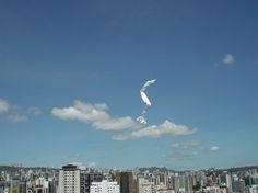 Desenhando no vento: Tiras de papel são arremessadas de partes altas da cidade em dias de vento: http://poro.redezero.org/intervencao/desenhando-no-vento/