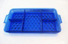 Fostoria American Cobalt Blue Glass Deco 5PART Relish Tray Hard to Find | eBay