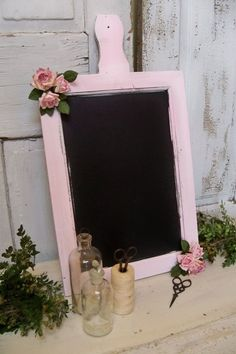 Shabby chic pink chalkboard paddle wood style by AnitaSperoDesign, $60.00