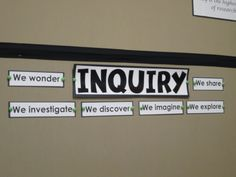 "Inquiry Bulletin Board documentation, ""I wonder"" statements, and a ""parking lot"" for things to investigate later"