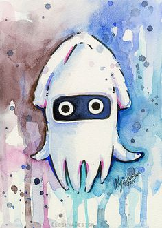 Blooper Watercolor Painting Art Print Geek por OlechkaDesign