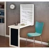 Wood Fold-Down Desk Table With Wall Cabinet and Chalkboard (White)