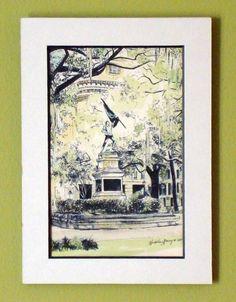 Madison Square Savannah Watercolor Fine Art Print by theinklab, $25.00