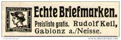 Original-Werbung/Inserat/ Anzeige 1912 - BRIEFMARKEN KEIL GABLONZ - ca. 40 x 10 mm