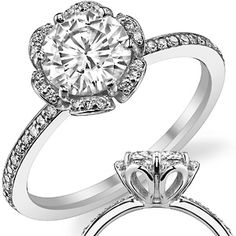 Round Brilliant Moissanite & Diamond Floral Style Ring. This is so beautiful!!