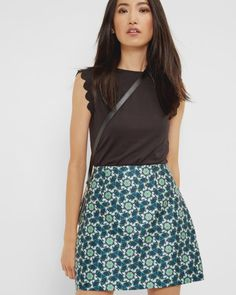 Kaleidoscope Swallow A-line skirt - Dark Blue | Skirts | Ted Baker UK