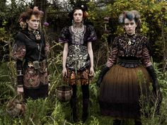 """""""Three Irish girls, photographed for the Telegraph magazine, in a friend's garden in Co Louth. Inspired by the Steam Punk movement.""""  __ photo & descrip. by Perry Ogden"""