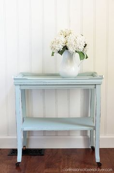 Thrift Store Table Makeover from confessionsofaser. Thrift Store Furniture, Refurbished Furniture, Paint Furniture, Furniture Projects, Furniture Making, Furniture Makeover, Repurposed Furniture, Industrial Furniture, Diy Chalk Paint Recipe